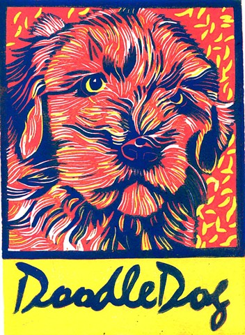 a reduction linocut of a doodle dog or goldendoodle by Leslie Moore of PenPets