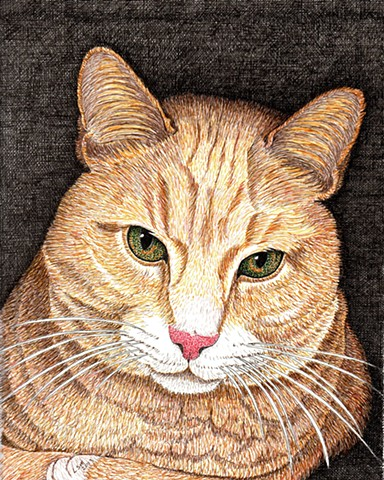 a colored pen and ink drawing of a marmalade Manx cat by Leslie Moore of PenPets