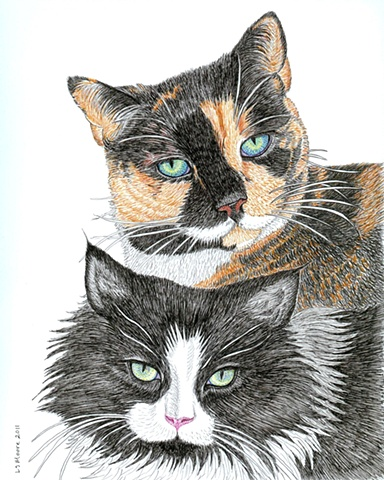 A colored pen and ink drawing of a calico cat and a black-and-white long-haired cat by Leslie Moore.