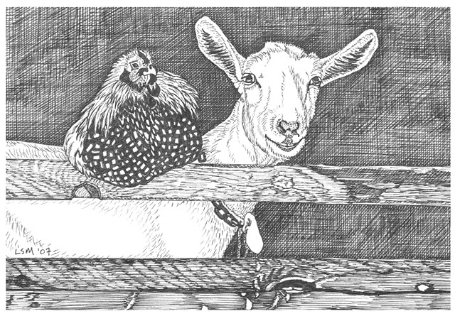 A pen and ink drawing of a chicken on a fence beside a goat by Leslie Moore of PenPets.