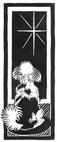 a woodcut of a little dog looking out a window at a star in the night sky by Leslie Moore of PenPets
