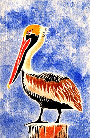 a white-line woodblock print of a brown pelican by Leslie Moore of PenPets