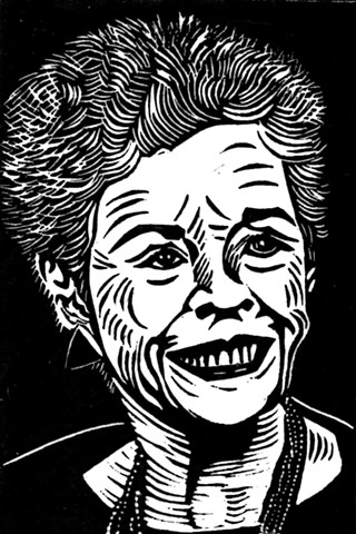 a black linocut portrait of a woman by Leslie Moore of PenPets