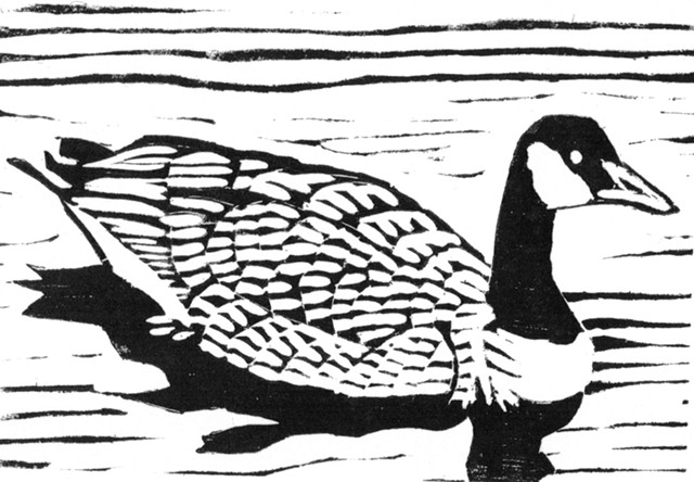 a woodcut of a Canada goose by Leslie Moore of PenPets