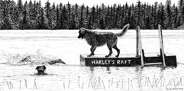 A pen and ink drawing of a Golden retriever/Bloodhound mixed breed dog on a wooden raft in a pond by Leslie Moore of PenPets.