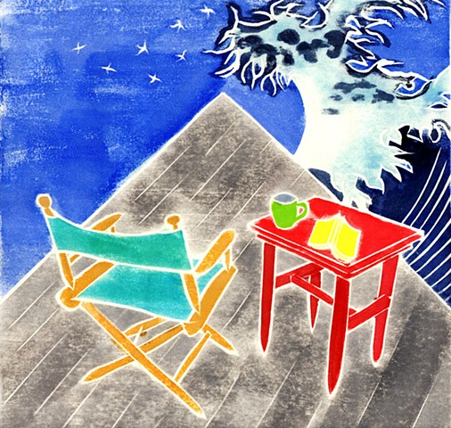 a white-line woodblock print of a canvas chair and table on a deck with a Japanese wave by Leslie Moore of PenPets