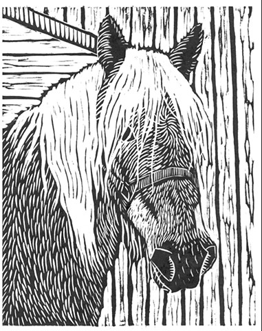 a woodcut of a Haflinger horse's head by Leslie Moore of PenPets