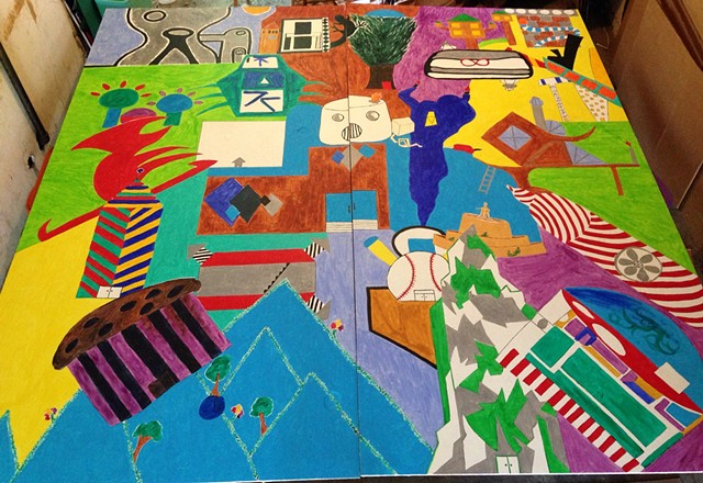 Colorful, Dynamic Mural of 24 Kids' Building Designs