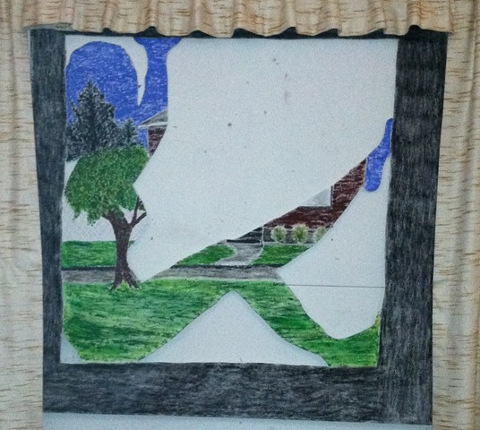 Image of window with a figure in it, yet the landscape outside the window is visible.