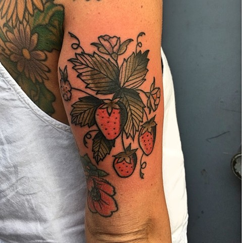 Strawberries tattoo by Kc Carew at Gold Standard Tattoo in Bend, OR.
