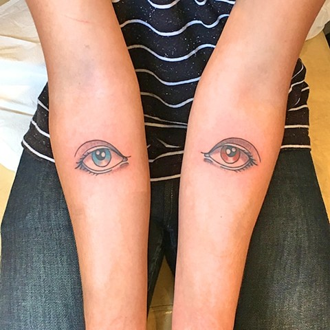 Eye tattoos by Kc Carew at Gold Standard Tattoo in Bend, OR.