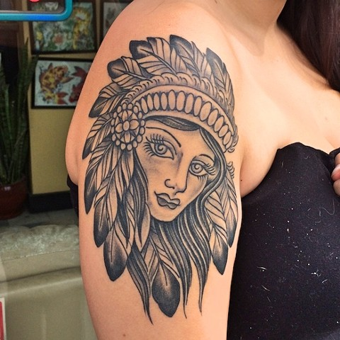 American Traditional headdress girl tattoo by Dirk Spece at Gold Standard Tattoo in Bend, OR.