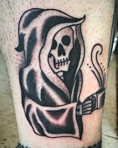 Grim reaper with coffee tattoo by Kc Carew at Gold Standard Tattoo in Bend, OR.