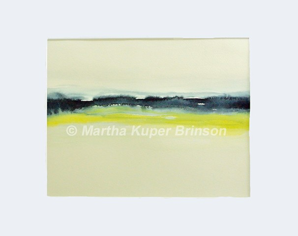 Yellow and gray horizontal watery lines in this original watercolor painting form an abstract mountain lake scene.