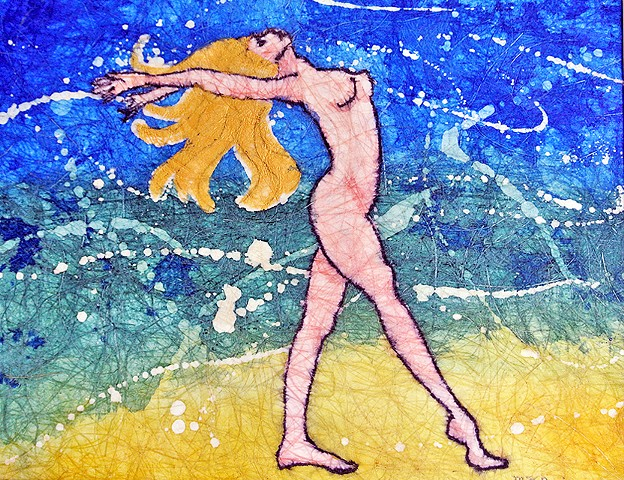 A golden-haired girl dances nude on the beach at midnight