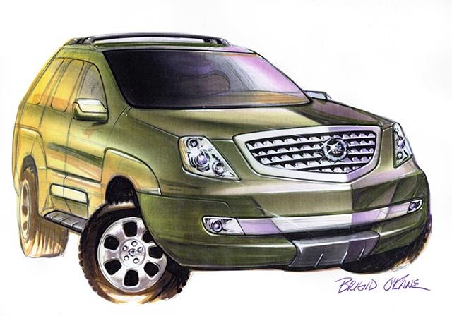 Cadillac Escalade Concept Rendering Green Front 3/4 View