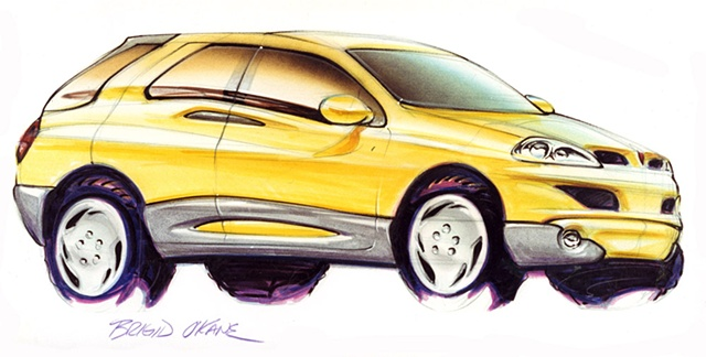 Aztek Concept Rendering Yellow 7/8 Front View