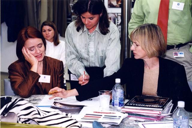 Brigid O'Kane working with Dana Buchman and Karen Harrman.
