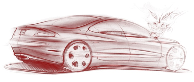 Oldsmobile Intrigue Concept Sketch Exterior Rear 3/4 View with Demon