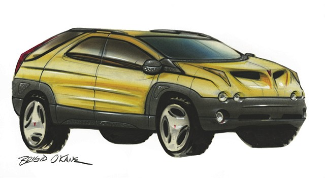 Pontiac Aztek sketch that was approved for production.