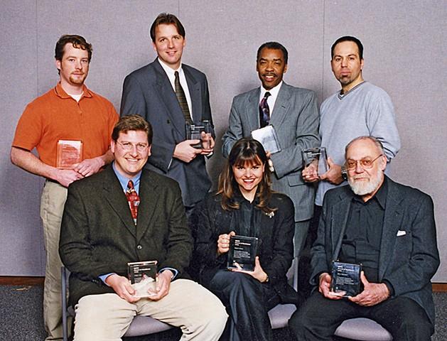 Receiving leadership award at General Motors.