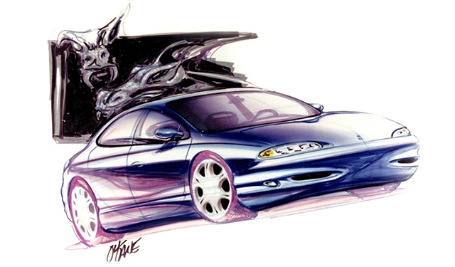 Oldsmobile Antares Concept Rendering  Front 3/4 View with Demons
