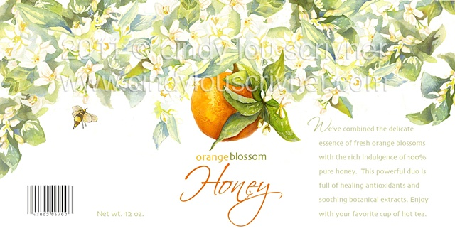 A package design project. Orange Blossom Honey Jar Label by Cindy Lou Scrivner