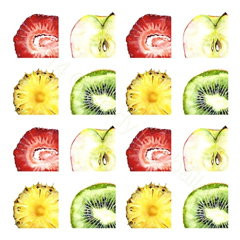 A fun pattern of delicious slices of juicy fruits. A strawberry, a kiwi, a pineapple and a Honeycrisp apple; in lovely shades of red, green, and yellow. Painted by Cindy Lou Scrivner Bailey. A fun pattern of delicious slices of juicy fruits.    Delicious
