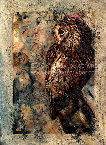 A watercolor and ink painting of an owl by Cindy Lou Scrivner.