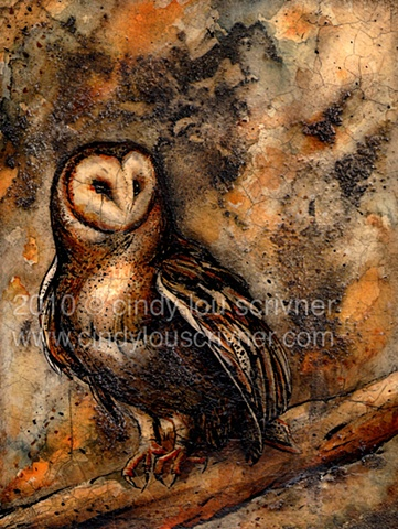 A watercolor and ink painting of a barn owl by Cindy Lou Scrivner.