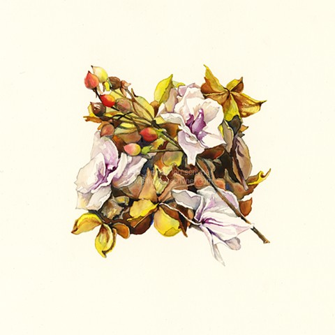 A watercolor painting of fallen leaves, twigs and petals by Cindy Lou Scrivner. A microhabitat.