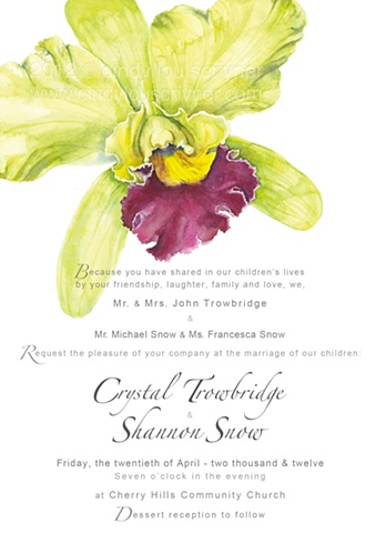 A botanical watercolor painting of a green and magenta dendrobium orchid, on a Wedding Invitation designed and executed by Cindy Lou Scrivner
