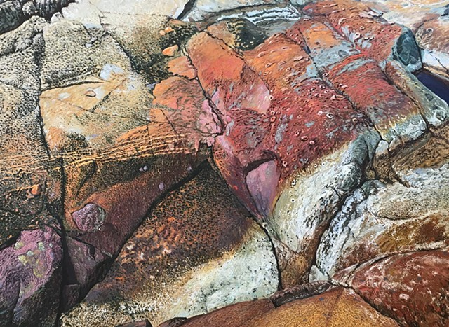 Vaino Kola artist painter painting oil on canvas Rocks, Isle-au-Haut Turtle Gallery Deer Isle Maine