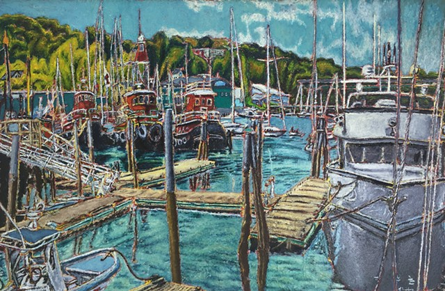 Jeff Loxterkamp artist painter painting oil on canvas Belfast Fleet #2 2015 Turtle Gallery Deer Isle Maine