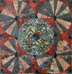 Alice Spencer artist collage hand-stenciled Asian paper on board Circle Kasaya Patchwork Series Turtle Gallery Deer Isle Maine
