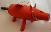 Bert Yankielun Flying Pig painted and altered cedar lobster buoy Turtle Gallery Maine