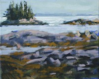 Nina Jerome Ledges, Gray Morning oil on panel painting artist Turtle Gallery Deer Isle Maine