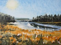Nina Jerome Morning Marsh Harbor Sun oil on yupo painting artist Turtle Gallery Deer Isle Maine