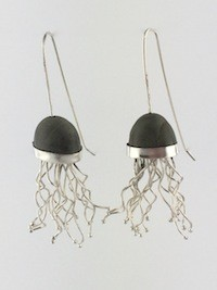 Sarah Doremus Jelly Fish earrings does math mixed metals jewelry sterling silver beach stones Turtle Gallery Maine