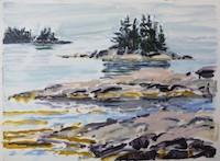 Nina Jerome Layers oil on yupo painting artist Turtle Gallery Deer Isle Maine