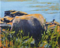 Nina Jerome Morning Shore and Big Rock oil on canvas painting artist Turtle Gallery Deer Isle Maine