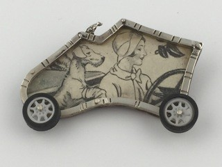 Sarah Doremus Dog's Day Out mixed metals jewelry pin Turtle Gallery Maine