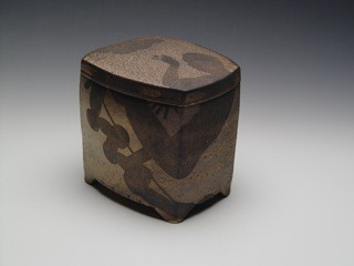 Paul Heroux Covered Box Figure decoration Soda-fired stoneware with underglaze photo-transfer Turtle Gallery Deer Isle Maine