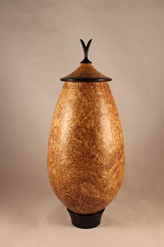 The Turtle Gallery, Chris Joyce, Maine, Deer Isle, Woodwork, Wood, Vessel with lid, Black Ash Burl, African Blackwood