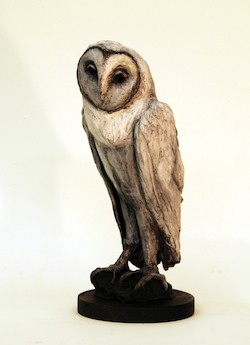 Treacy Ziegler Owl bronze sculpture black white patina Turtle Gallery Deer Isle Maine