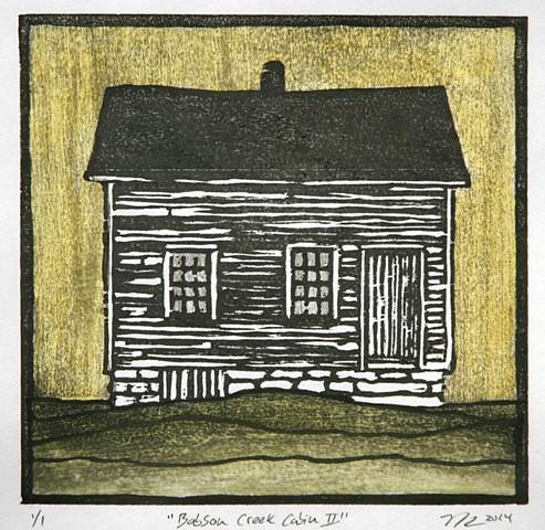 Nicole Herz print Babson Creek Cabin II Moku Hanga traditional woodblock artist printmaker Turtle Gallery Deer Isle Maine 2014