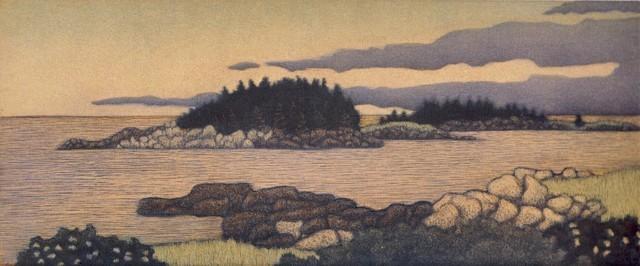 James Groleau printmaker prints mezzotint artist Corea Harbor Turtle Gallery Deer Isle Maine