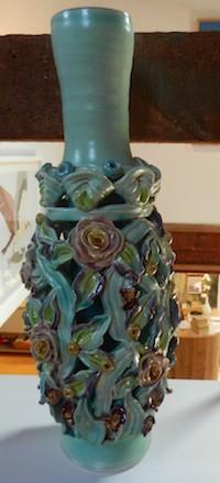 Lucy Breslin vase sculpture handbuilt white clay earthenware ceramic artist glazed Turtle Gallery Deer Isle Maine