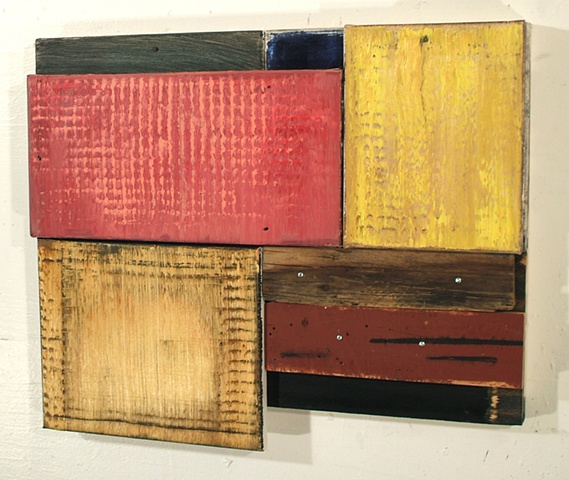 oil on canvas and wood assemblage
