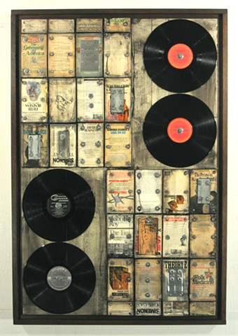assemblage constructed art recycled books
